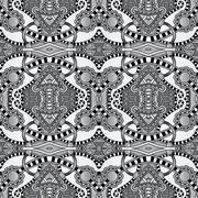 grey geometry vintage floral seamless pattern - stock illustration