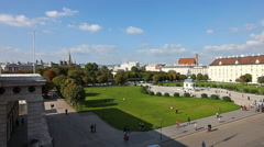 View at Volksgarten park and the Heldenplatz in Vienna Stock Footage