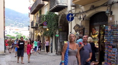 Crowd tourists at Cefalu (Cefalù) city. Sicily, Italy. Stock Footage