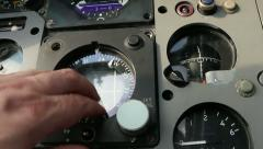 Aircraft panel hand taps compass 1 Stock Footage