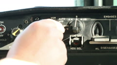 Aircraft panel hand flicks switch 06 Stock Footage
