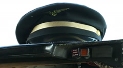 Pilots hat on planes dashboard 01 Stock Footage