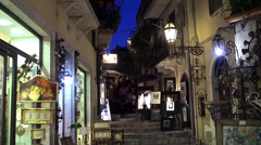 Corso Umberto street of Taormina at night time. Sicily Stock Footage