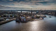 aerial view of gamla stan - stock photo