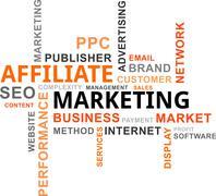 word cloud - affiliate marketing - stock illustration