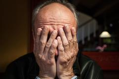Depression. elderly man Stock Photos