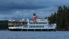 Wenonah II antique steamboat in Muskoka. Stock Footage