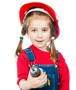 Little girl in red helmet - stock photo