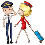 Pilot and flight attendant - stock illustration