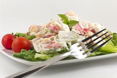 Mayonnaise seafood salad Stock Photos