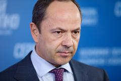 sergey tigipko at a press conference devoted to the presidential elections in - stock photo