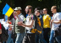 anti putin meeting in support of ukraine's unity - stock photo