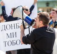 Anti putin meeting in support of ukraine's unity Stock Photos