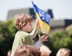 anti putin meeting in support of ukraine's unity - stock photo