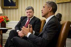 Presidents barack obama and petro poroshenko Stock Photos