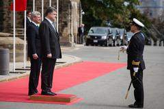 president of ukraine petro poroshenko in ottawa (canada) - stock photo