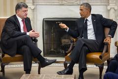 presidents barack obama and petro poroshenko - stock photo