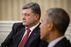Presidents barack obama and petro poroshenko Stock Photos