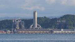 Coastal power electric plant - birds feeding at sea Stock Footage