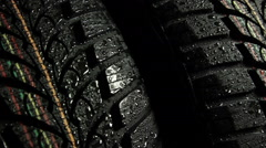 Wet tire slider shot Stock Footage
