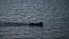 Fishers heading up the Bosphorus to Black Sea Stock Footage