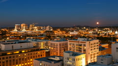 Time Lapse of Portland Oregon with Moonrise and Light Trails at Night 1920x1080 Stock Footage