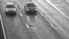 Overview of Toll Road in the Rain - Transportation Backgrounds Stock Footage