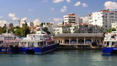 Bostanci harbor and ferry port from the waterside Stock Footage