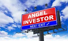 Angel Investor Inscription on Red Billboard. - stock illustration
