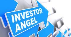 Investor Angel on Blue Direction Arrow Sign. - stock illustration