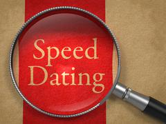 Speed Dating through Magnifying Glass. Stock Illustration