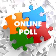 Online Poll on Multicolor Puzzle. - stock illustration