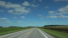 Driving thru flat midwest  corn belt Stock Footage