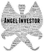 Angel investor word cloud shape Stock Illustration