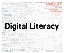 Stock Illustration of digital literacy word cloud shape