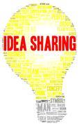 idea sharing word cloud shape - stock illustration