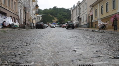 On the Andriyivskyy Descent in Kyiv it is raining Stock Footage