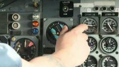 Aircraft panel hand flicks switch 07 Stock Footage