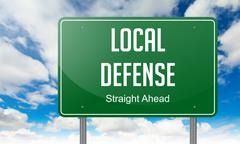 Local Defense on Highway Signpost. - stock illustration