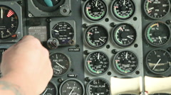 Aircraft panel hand flicks switch 09 Stock Footage