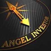 Angel Investor - Golden Compass Needle. Stock Illustration