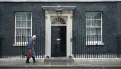 Entrance of 10 Downing Street in London Stock Footage