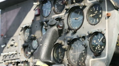 Military aircraft panel and controls 02 Stock Footage