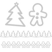 xmas icons  - tree and gingerbread man - stock illustration