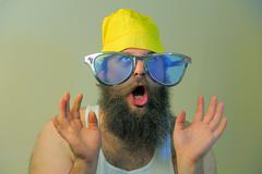 Wacky excited bearded man Stock Photos
