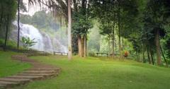 Beautiful nature landscape of Wachirathan waterfall in Doi Inthanon, Chiang Mai Stock Footage
