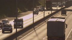 SLOW MOTION: Busy highway in the morning Stock Footage
