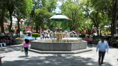 Main park in downtown. Tlaxcala, Mexico-August 2014. TIME LAPSE-ZOOM IN. Stock Footage