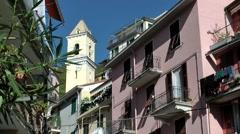 Europe Italy Liguria Cinque Terre national park 011 piazza in Manarola village Stock Footage