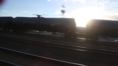 Train View of Oil Train at Sunset Stock Footage